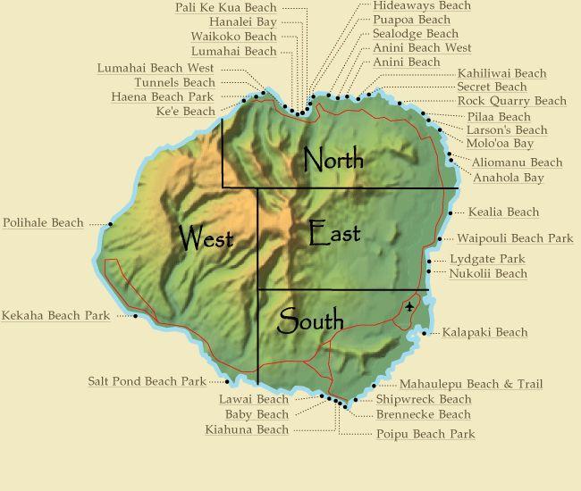 Kauai Beach Map