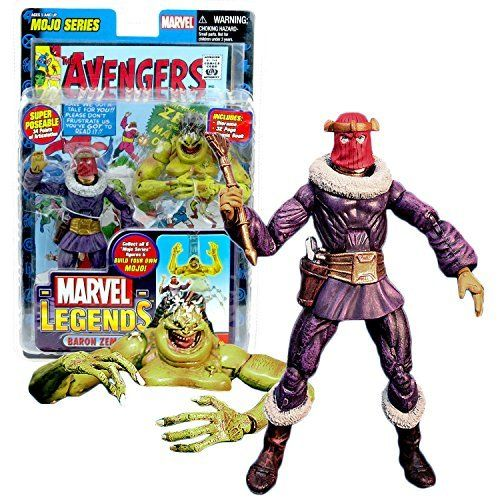 ToyBiz Year 2006 Marvel Legends Mojo Series 6 Inch Tall Action Figure  BARON ZEMO with 34 Points of Articulation Golden Eagle Scepter Comic Book and Mojos Head and Upper Torso *** Visit the image link more details.