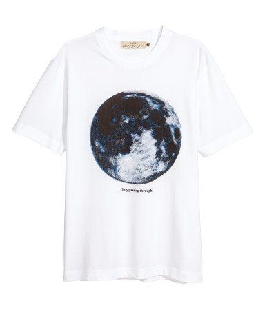 T-shirt med tryck   Vit/Måne   Herr   H&M SE