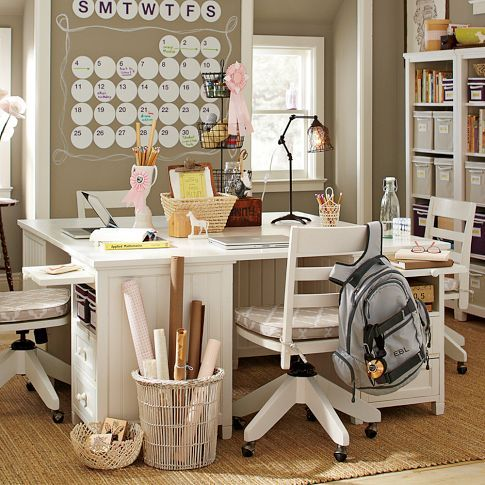 craft desk: Schools Rooms, Study Spaces, Crafts Rooms, Work Spaces, Rooms Ideas, Study Rooms, Wall Calendar, Homework Stations, Pb Teen