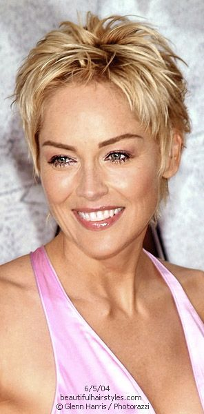 Sharon Stone in Very Short Straight Spiky Haircut with Layers - Beautiful Hairstyles