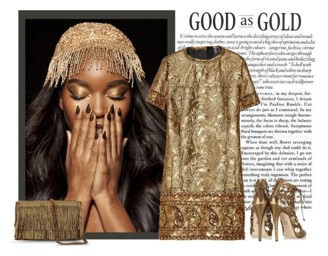 """Gold Brocade Dress"" by daisy1980 ❤ liked on Polyvore featuring Brian Atwood, Lanvin and STELLA McCARTNEY"