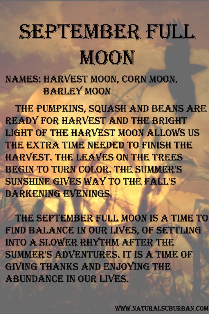 September's full moon is the Harvest Moon.