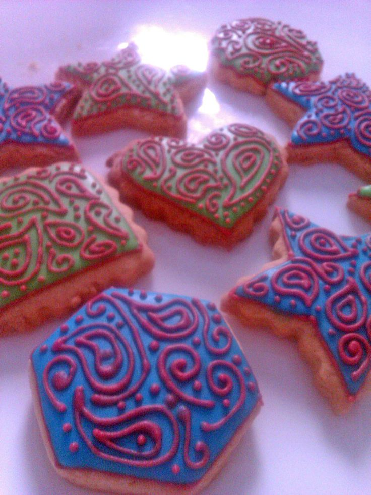 Decored cookies connection, with red, blue and green icing