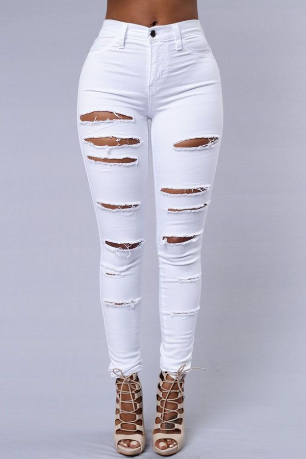 6962c637547 ... Women Jeans Ripped Holes Fashion Straight Full Length High Waist Famale  Washed Denim Pants Cotton Trousers. Pencil Pants Ripped Skinny Jeans