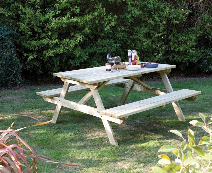 wooden picnic bench seats 4 garden patio furniture bench outdoor seat