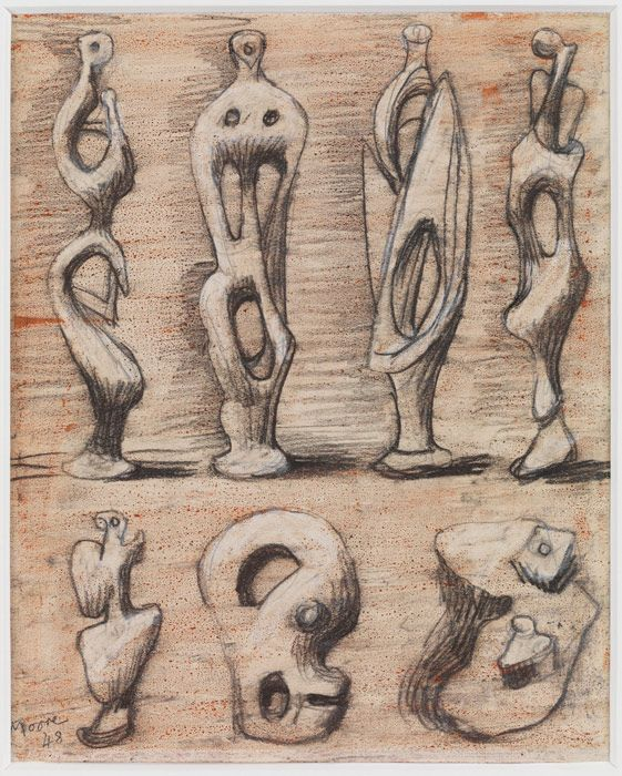 Henry Moore, Standing Figures and Ideas for Sculpture, circa 1948, Pencil, wax crayon, coloured crayon and, watercolour wash on paper, 29 x 24 cm, © The Henry Moore Foundation, Courtesy Henry Moore Family Collection and Hauser & Wirth.
