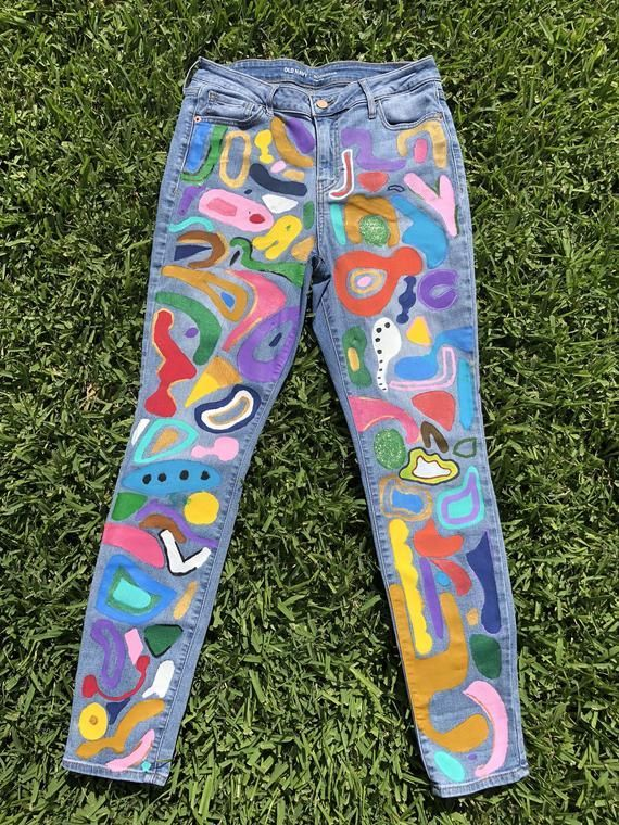 MUSTER Handbemalte Jeans – – Ihre wird Custom! Auf Bestellung