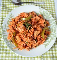 chicken, pepper and spinach 'jollof' rice recipe