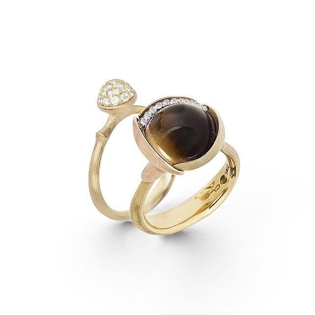 A golden pair. Smoky quartz combined with diamonds pavé. Shop on link in bio. #lotuscollection #lotusring #gemstones #smokyquartz #diamonds #18k #gold #charlottelynggaard #olelynggaard #olelynggaardcopenhagen @charlottelynggaard_dk