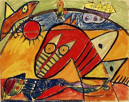 """""""Bird-Horse of the Water""""... Vandets Fuglehest, 1938. Vandfarve og oliekridt på papir. Carl Henning Pedersen"""