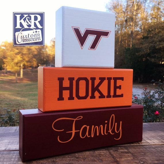 VT Hokies Virginia Tech Family painted block by KRCustomWoodcrafts