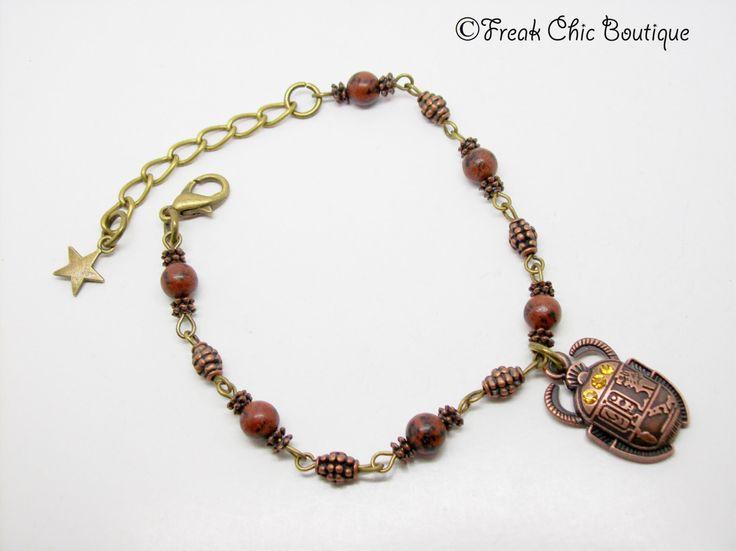 Scarab Bracelet - kheper  - Egyptian Jewelery - Egyptian Bracelet - Red Jasper Bracelet - Egyptian Jewellery - Atum - Amulet Bracelet by freakchicboutique on Etsy