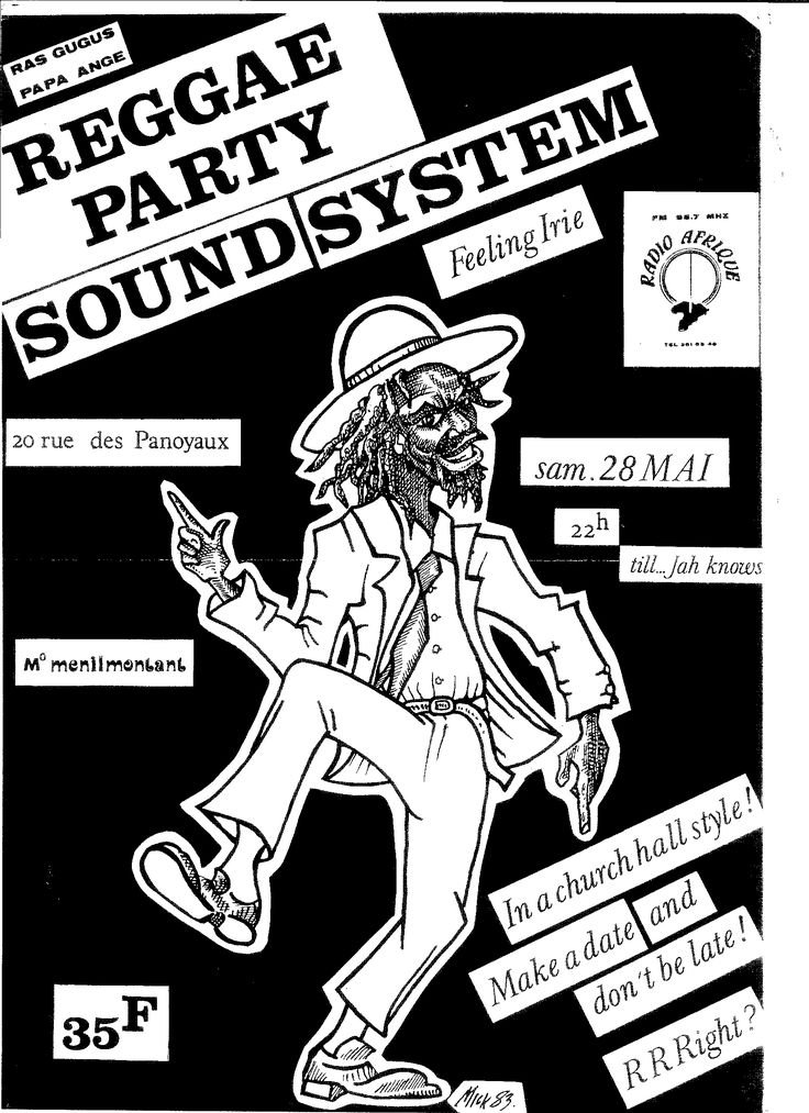 Flyer for Radio Afrique Sound System in Paris by Mike Hawthorne 1983