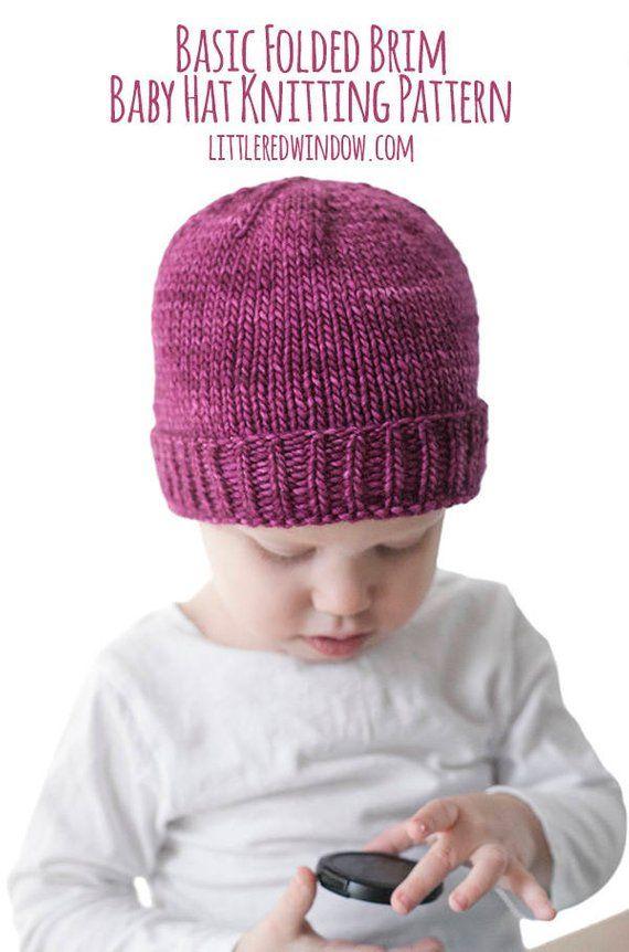 Easy Folded Brim Hat Knitting Pattern Brimmed Hat Pattern Etsy Baby Hat Knitting Pattern Baby Hats Knitting Knitting Patterns Free Hats