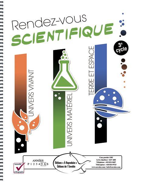 Rendez-vous scientifique 3e cycle - La série Rendez-vous scientifique présente des concepts scientifiques simples aux élèves. Les activités permettent d'explorer de nombreux sujets se rapportant à l'un des trois thèmes suivants : l'univers vivant, l'univers matériel, et la Terre et l'espace. Au fil des pages, les élèves liront des textes informatifs, apprendront du vocabulaire lié au domaine des sciences, et répondront à des questions à travers des activités variées.