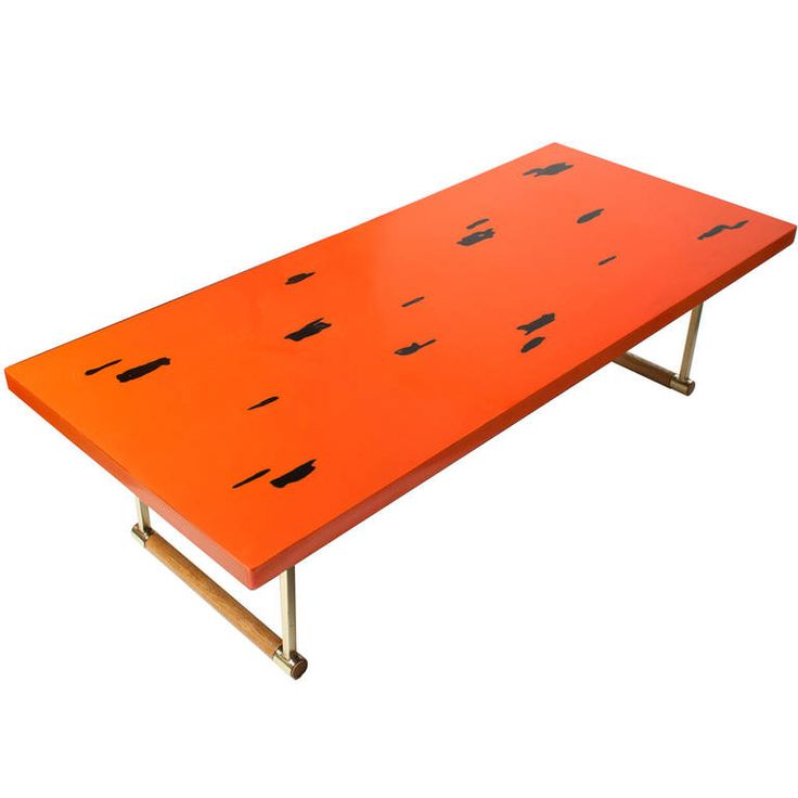 Japanese Mid Century Modern Coffee Table In Negoro Lacquer Technique