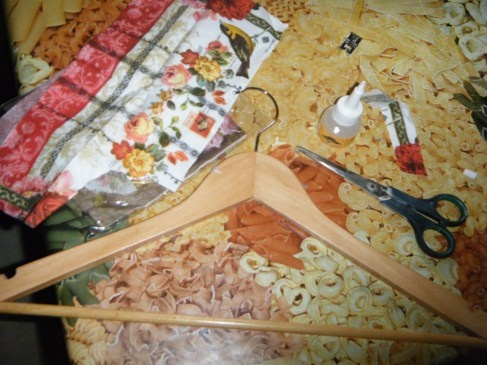 Jewelry tree from hanger: napkin, hanger, glue, pin and lattice (optional)