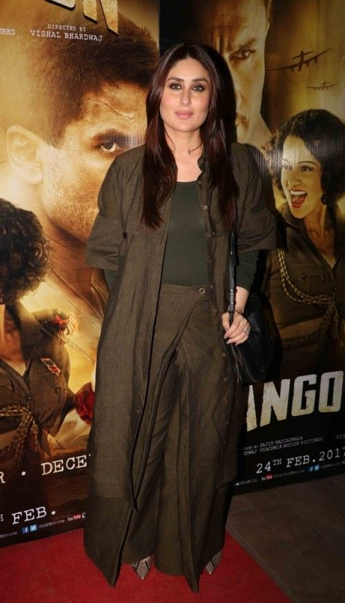 Yay or Nay? Kareena Kapoor Khan during the movie screening of Rangoon wearing a dirty green palazzo pants and jacket