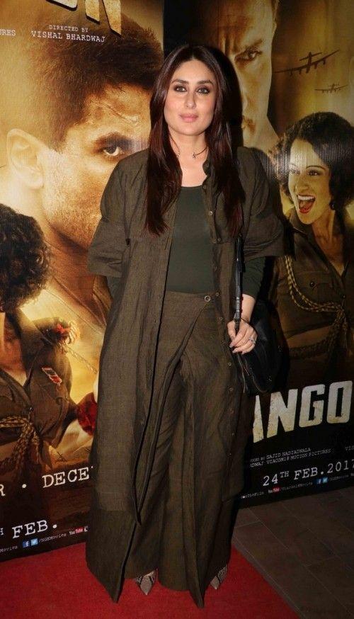 Yay or Nay? Kareena Kapoor Khan during the movie screening of Rangoon wearing a dirty green palazzo pants and jacket