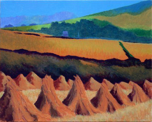 Ancient harvest, mid Cornwall painting by Tom Henderson Smith approx 40 x 50 cms. Acrylic on stretched canvas