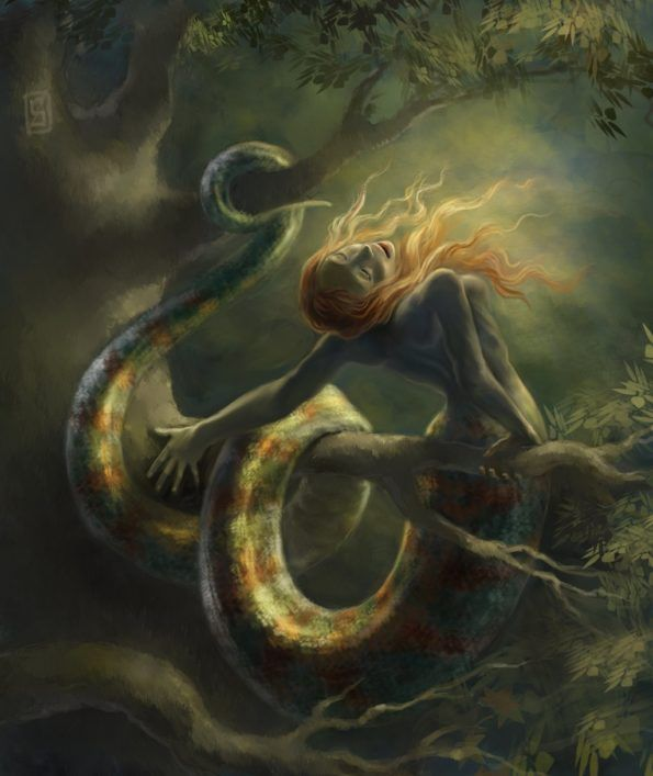 In Greek Mythology Echidna Was A Monster Half Woman And Half Snake Who Lived Alone In A Cave She Was The M Echidna Mythology Mythology Art Monster Artwork