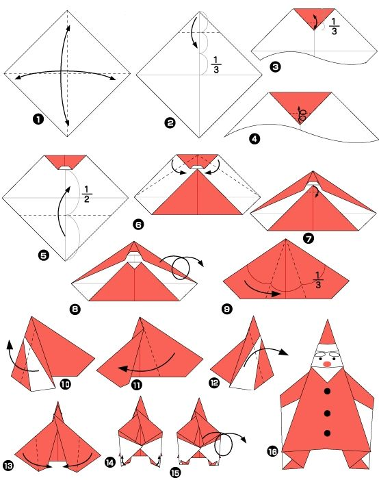 123 best images about pere noel on pinterest santa stocking santa face and natal - Origami pere noel ...