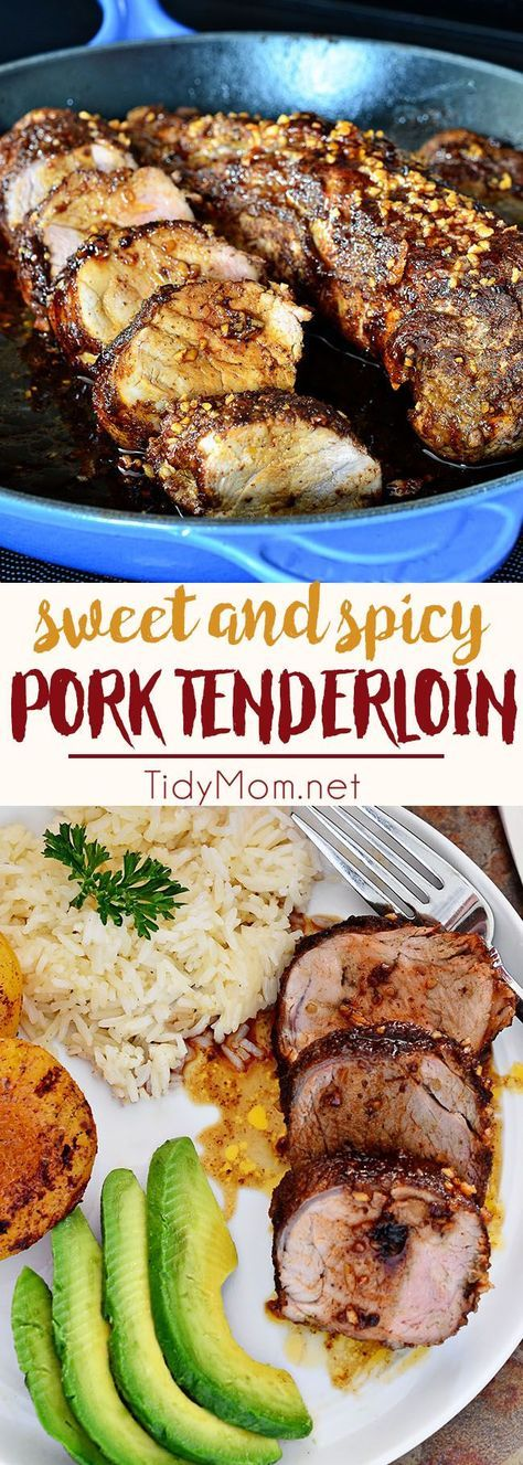 Your taste buds will be tantilized with each bite of this Sweet and Spicy Glazed Pork Tenderloin. Juicy and flavorful, it's a little sweet and a little spicy and it's a breeze to whip up. This pork tenderloin is ready for the table in 30 minutes. Get the full recipe at http://TidyMom.net