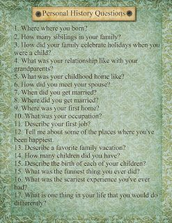 Family History interview page. Great for an oral history!