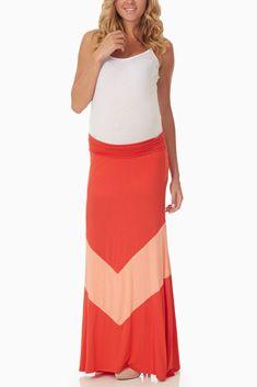 Coral Peach Chevron Colorblock Maternity Maxi Skirt