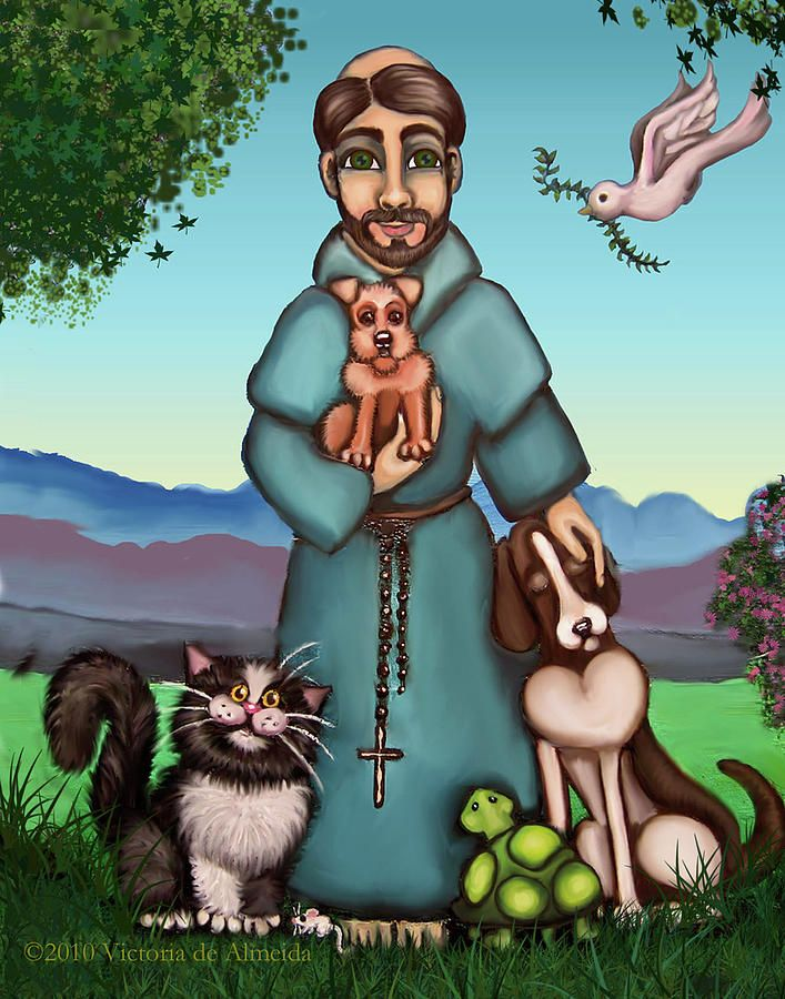 St. Francis Libertys Blessing Painting by Victoria De Almeida - St. Francis Libertys Blessing Fine Art Prints and Posters for Sale