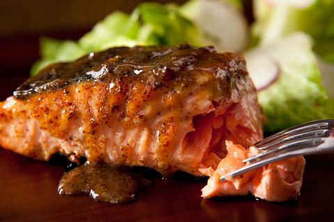Maple-Mustard Grilled Salmon - used this as a glaze for salmon on the BBQ tonight, just brushed it on a few times while it cooked. I think it would be great on chicken too! If you can, make sure you use real maple syrup.