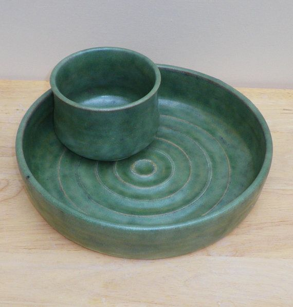 Chip and dip set hors d'oeuvres dish hand thrown stoneware