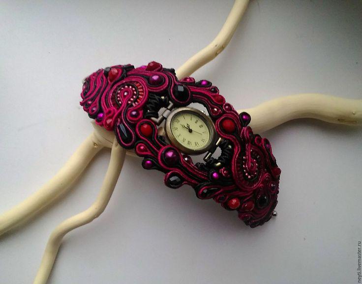 Купить Сутажный браслет с часами к колье Черничные ночи - бордовый, вишневый, фуксия, малиновый, красный