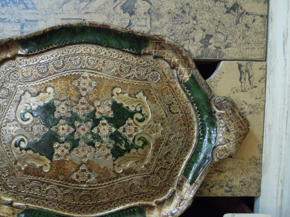 Vintage Italian Florentine Wood Tray in Green by AloofNewfWhimsy, $52.00