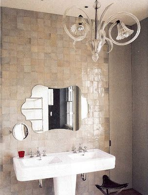 zellige bathroom by favorite clé designer ilse crawford - Handmade tiles can be colour coordinated and customized re. shape, texture, pattern, etc. by ceramic design studios