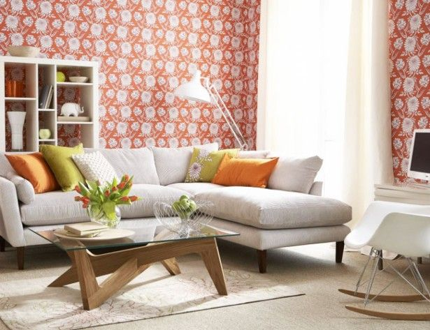 Living Room, Fancy Wallpaper Idea Feat Small L Shaped Sofa Design Or Pretty Accent Cushion In Living Room: Decorate Your Elegant Living Room with Orange Accent