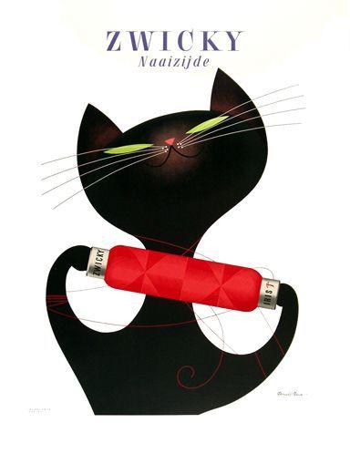 Donald Brun / Zwicky: Cat Art, Poster Design, Donald O'Connor, Kitty Cat, Vintage Poster, Cat Illustrations, Vintage Graphic, Donald Brun, Black Cat