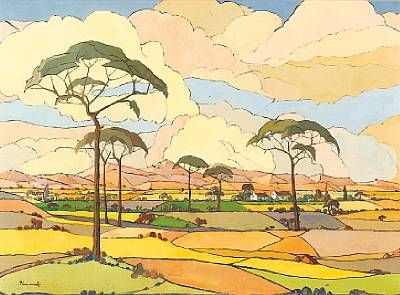 South African painter Pierneef,  trees