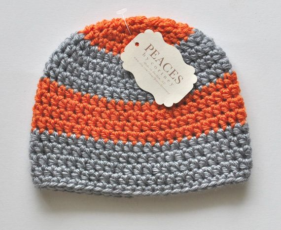 Orange & Gray Baby Beanie Hat Baby by Peaces by Cortney