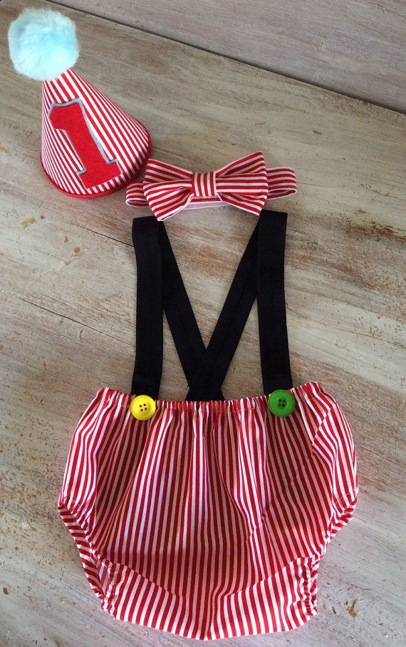 Boy Circus Theme Cake Smash Birthday Outfit with Suspenders Bow Tie and Party…