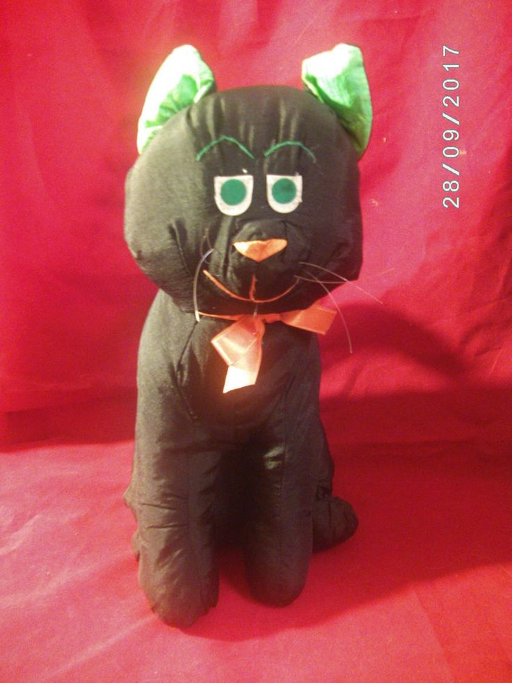 Vintage Halloween CAT International Silver Co Nylon Plush Stuffed Decoration