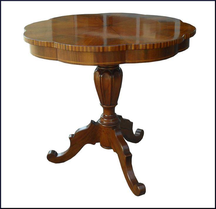 Tavolino sagomato da salotto con pianetto intarsiato