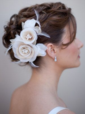 Champagne Ivory Silk Flower Bridal Hair Comb by HairComestheBride, $68.00