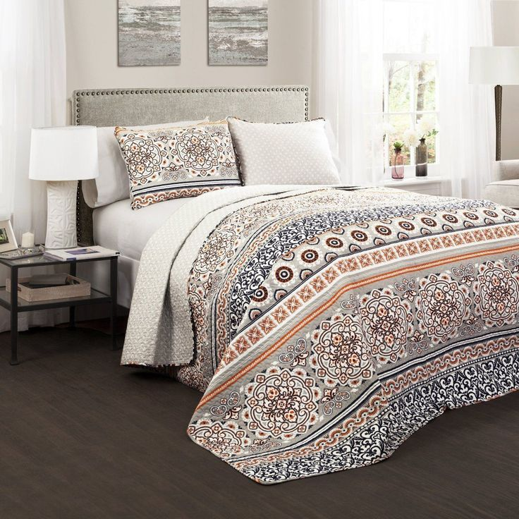 Nevin 3 PC Navy Orange Quilt Bedding SET - GoGetGlam - 1