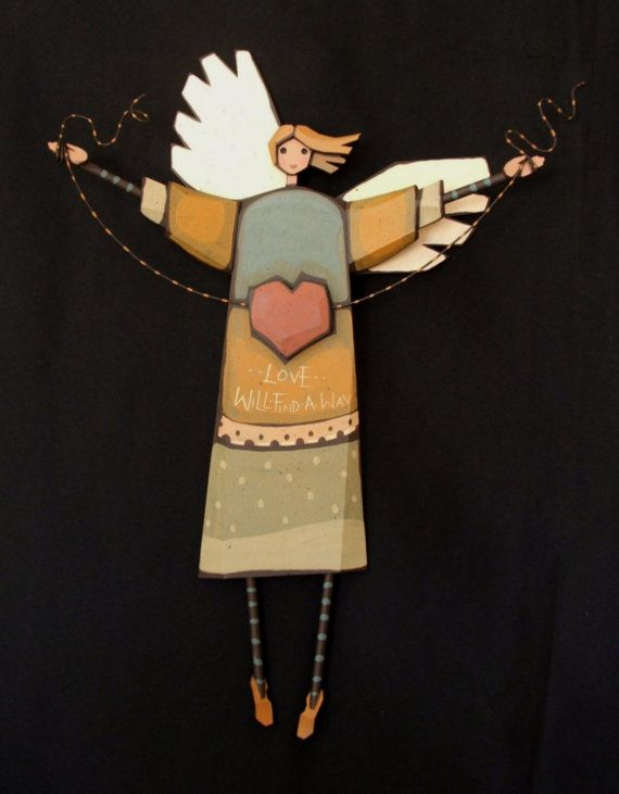 Hand Crafted Wooden Angel Title Love will by ArksAndAngelsMDallas, $95.00