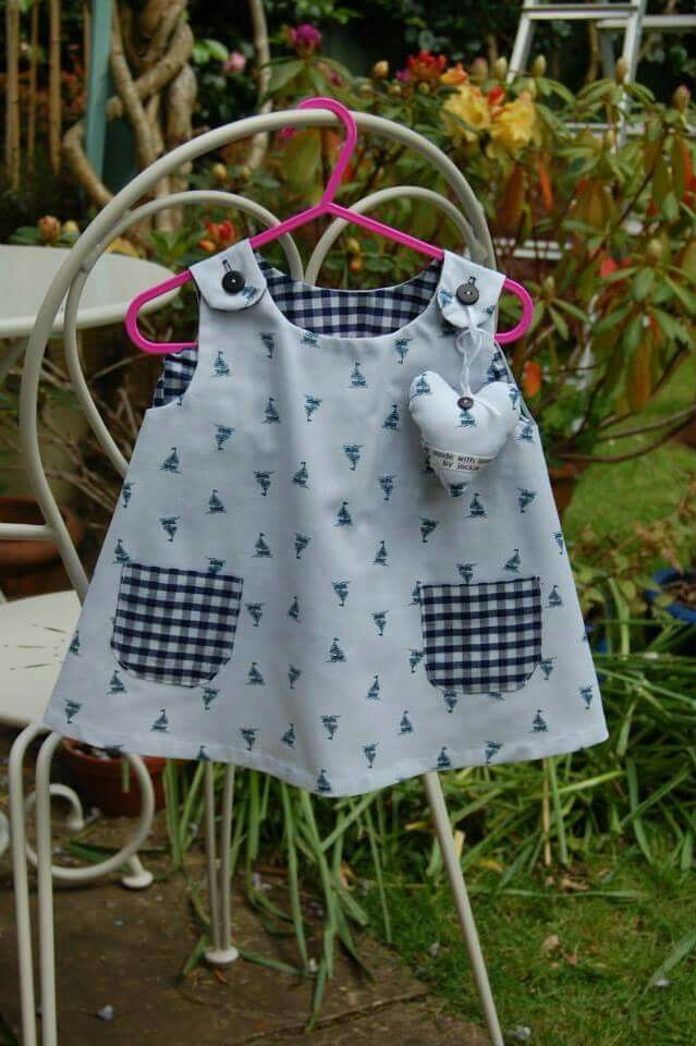 Chambray and gingham Lucy top with boats motif