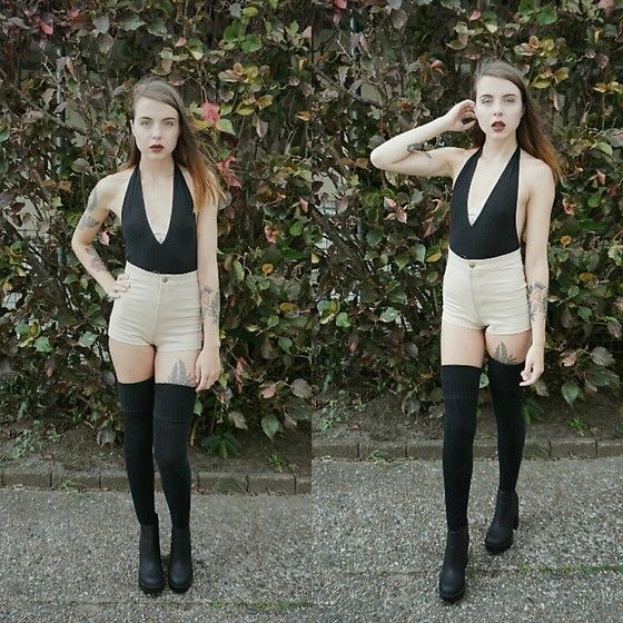 Get this look: http://lb.nu/look/8614055  More looks by Kelsi Goodwin: http://lb.nu/kelsigoodwin  Items in this look:  American Apparel Black Body Suit, American Apparel Nude Shorts, American Apparel Over The Knee Socks, H&M Boots   #chic #minimal #street #americanapparel #shorts #bodysuit #highwaist #nude #nuetrals
