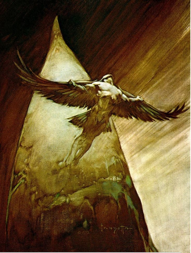 A sketchy work in bronze. Frazetta really captured the dynamism of flight here.