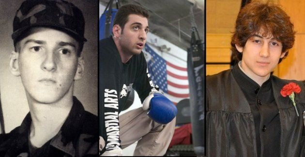Left: Timothy Mcveigh in army fatigues. Center: Tamerlan Tsarnaev during boxing practice in 2009. Right: Dzhokhar Tsarnaev after graduating from Cambr...